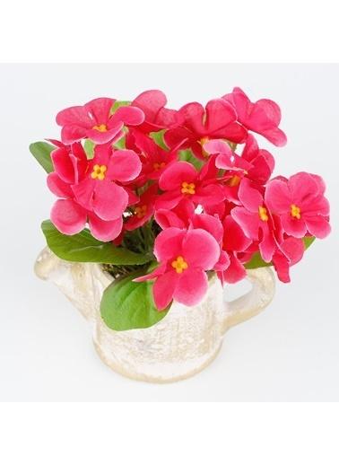 Çiçekmisin Porselen Saksıda Menekşe Çiçeği Yapay Çiçek Fuşya